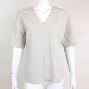 Ann Taylor Off White Structured V Neck Top